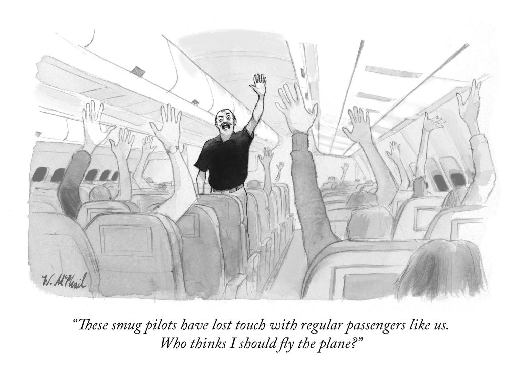 Will McPhail-cartoon-smug-pilot-regular-passengers-i-should-fly-the-plane